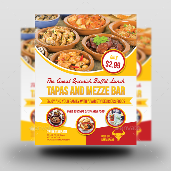 Restaurant flyer template by owpictures graphicriver for Tapas menu template