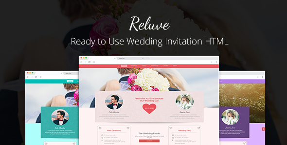 Reluve - Responsive Wedding Invitation Landing Page - Wedding Site Templates