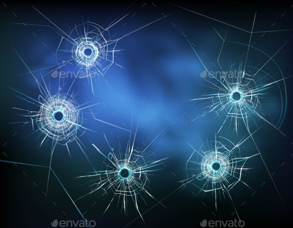 Bullet Holes in Glass Illustration - Backgrounds Decorative