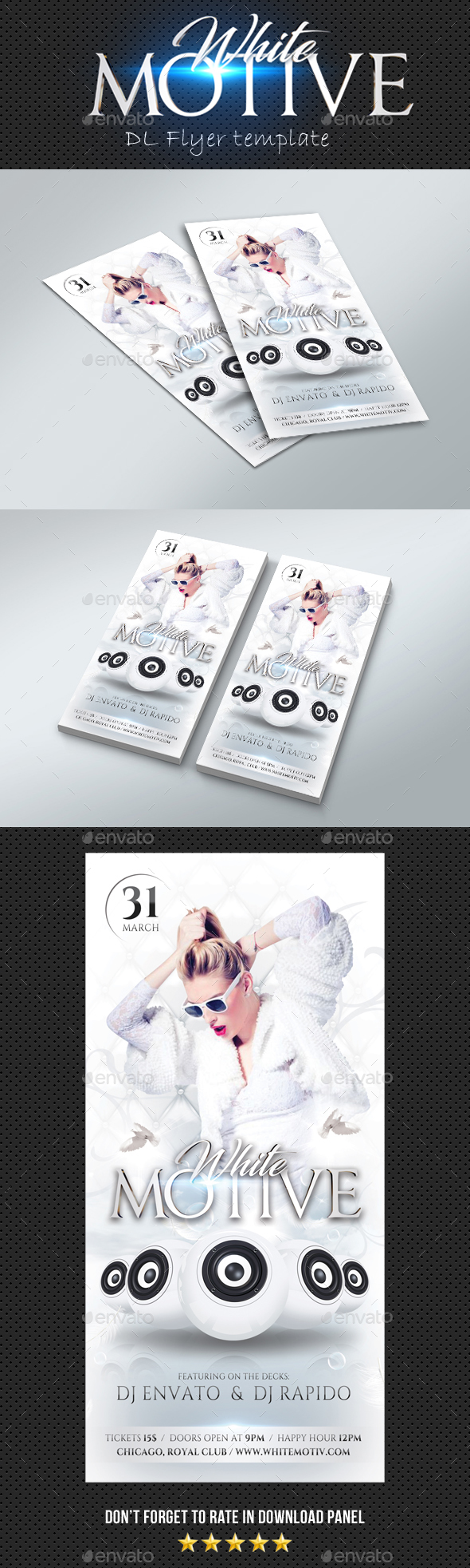 DL White Motive Flyer - Clubs & Parties Events