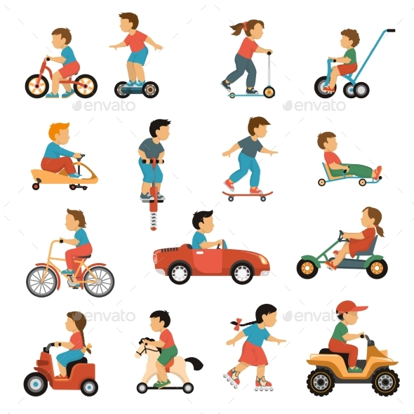 Kids Transport Icons Set - Sports/Activity Conceptual