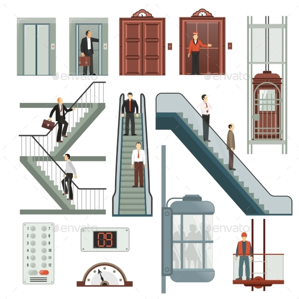 Elevator and Stairs Set - Miscellaneous Vectors