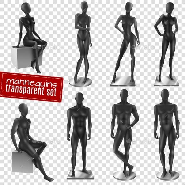 Mannequins Black Realistic Transparent Background - Miscellaneous Vectors