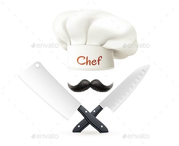 Hat of Chef Mustache and Knives - Decorative Symbols Decorative