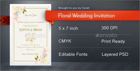 Floral Wedding Invitation Template - Weddings Cards & Invites