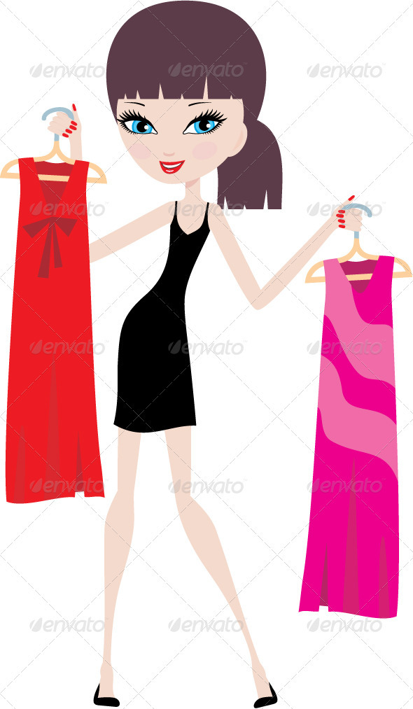 Young woman with hangers on a white background - Characters Vectors