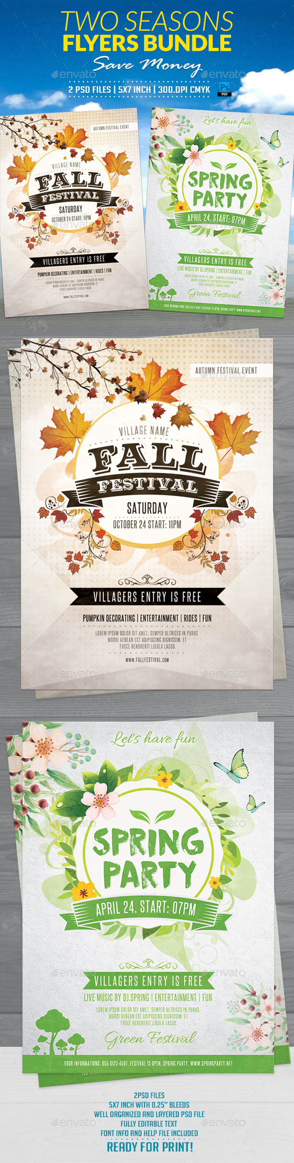 Two Seasons Flyers Bundle - Flyers Print Templates