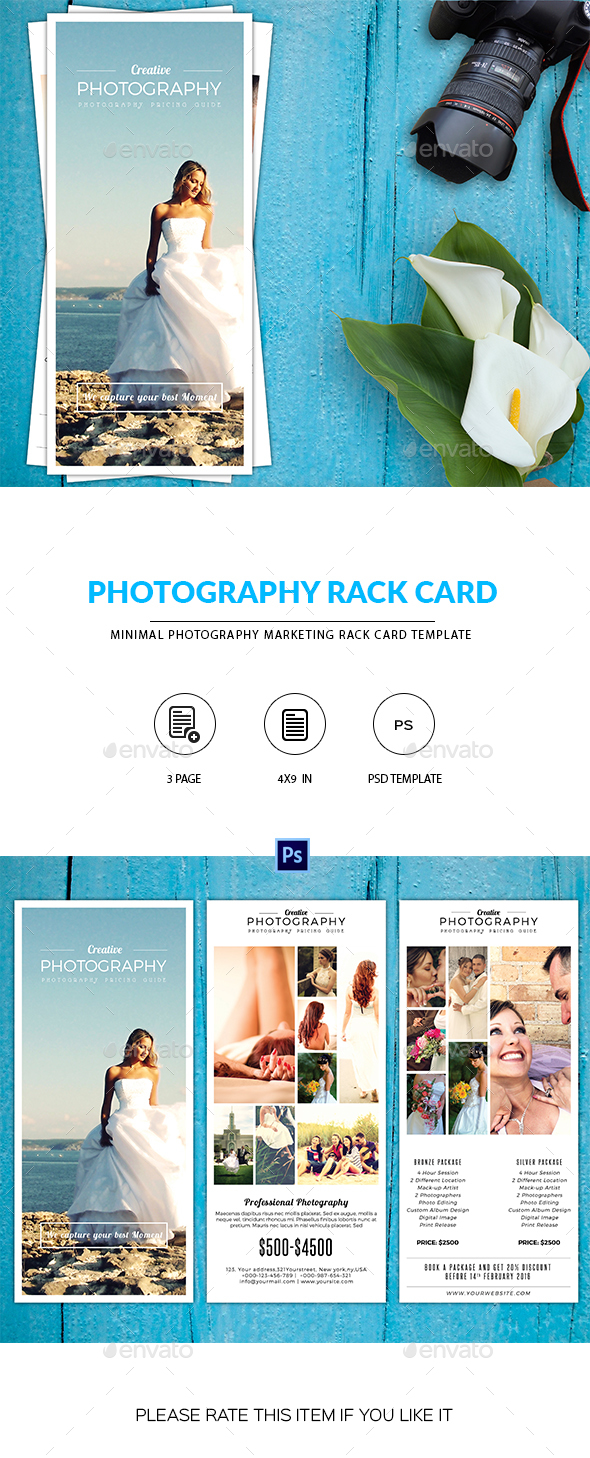 Minimal Photography Rack Card Template-V02 - Corporate Flyers