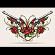 Two Guns and Rose Flowers Drawn in Tattoo Style - GraphicRiver Item for Sale