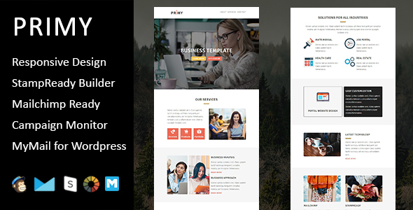 Primy - Multipurpose Responsive Email Template with Stampready Builder Access - Email Templates Marketing