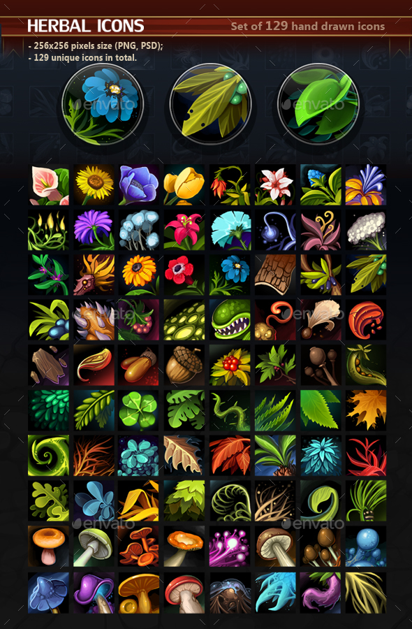 Herbal Icons - Miscellaneous Game Assets