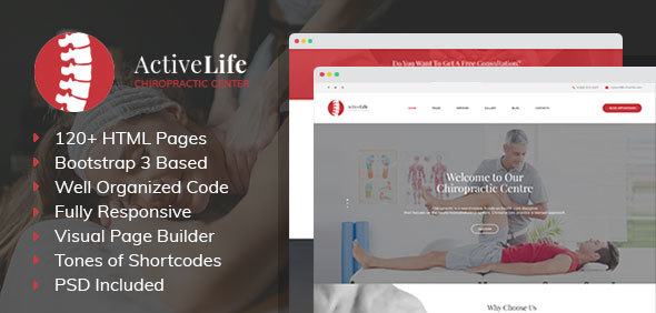 Active Life – Chiropractors, Spa and Massage Salon HTML Template with Visual Builder and Dashboard