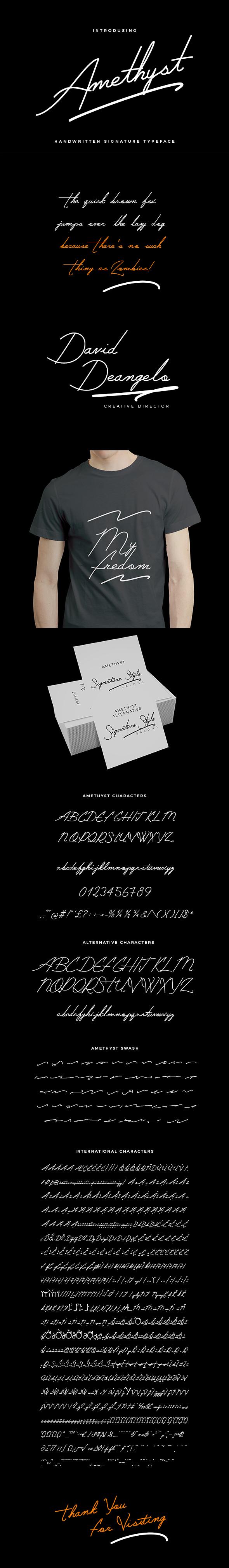 Amethyst Signature Typeface - Hand-writing Script