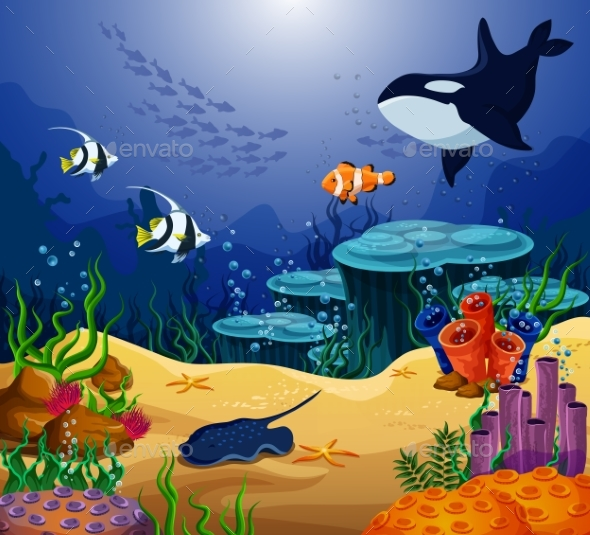 Ocean or Sea Fish, Killer Whale and Stingray - Animals Characters