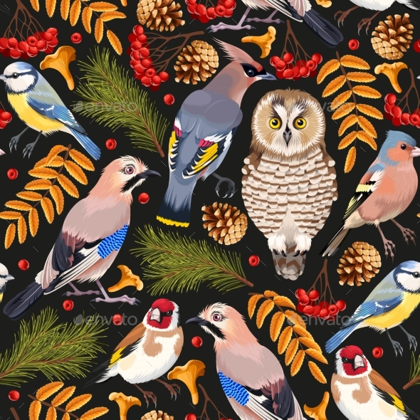 Forest Birds Seamless - Animals Characters