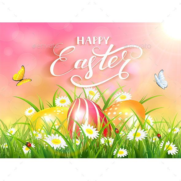 Pink Background with Three Easter Eggs in Grass - Miscellaneous Seasons/Holidays