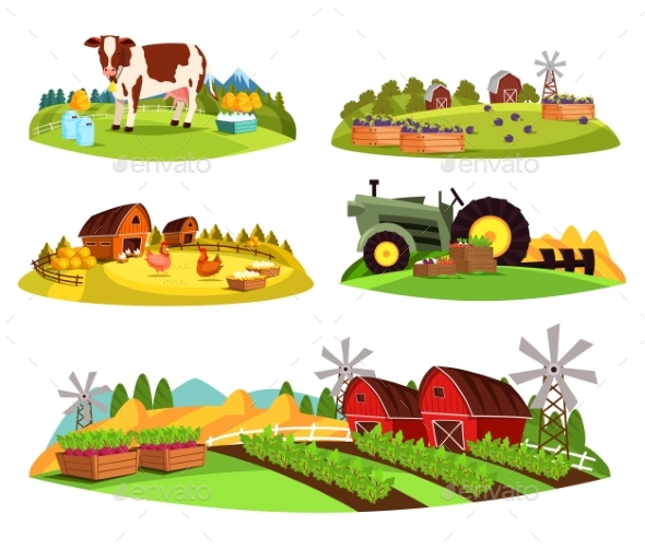 Village Countryside Views on Garden and Barn - Animals Characters