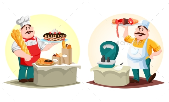 Butcher with Meat and Baker with Bun and Bread - Food Objects