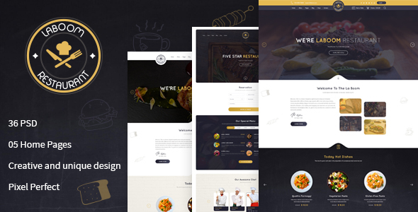 La Boom – Food & Restaurant PSD Template