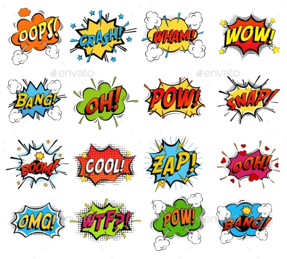 Set of Comic Bubble Speech Clouds, Onomatopoeia - Miscellaneous Vectors