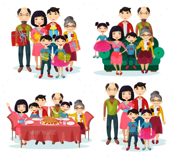 Family Portrait with Parents and Children on Sofa - People Characters