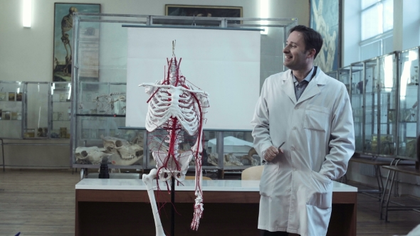 Medical Professor In Anatomy Class With Skeleton By Framestock