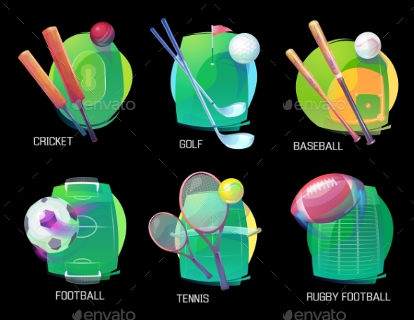 Tennis and Soccer, Rugby and Baseball Sports - Sports/Activity Conceptual