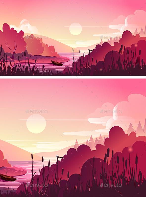 Landscape, Nature Vector Background - Landscapes Nature