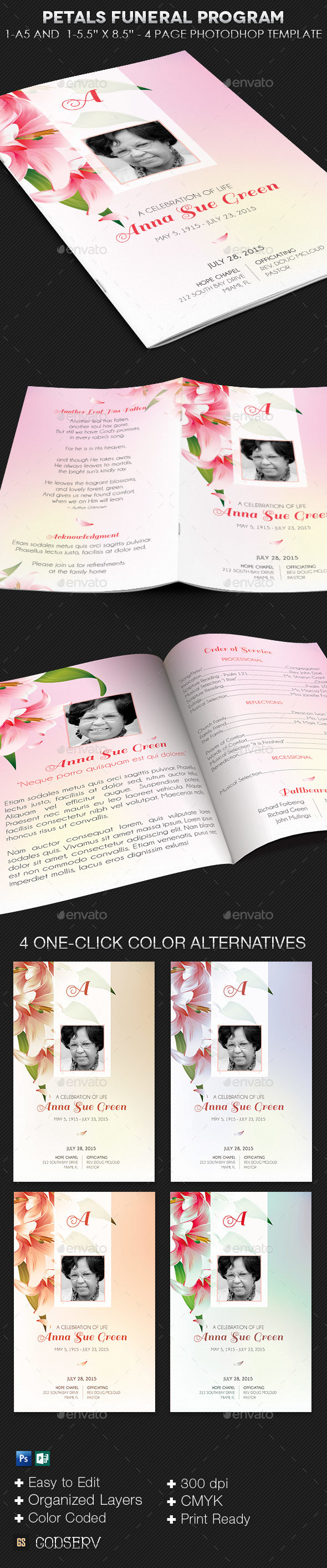 Petals Funeral Program Template - Informational Brochures
