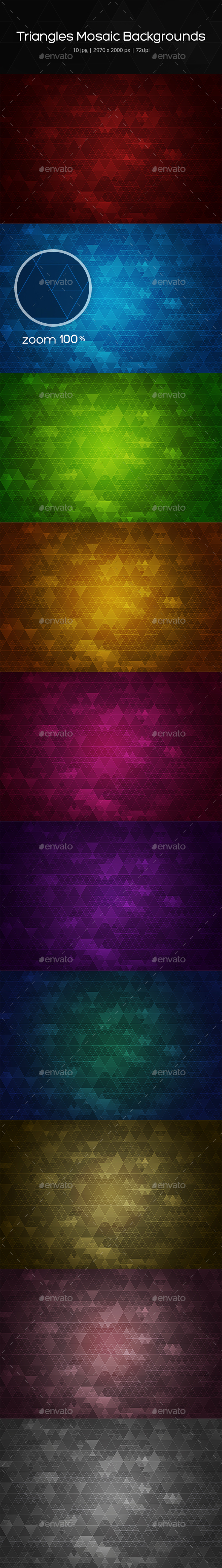 Triangles Mosaic Backgrounds - Backgrounds Graphics