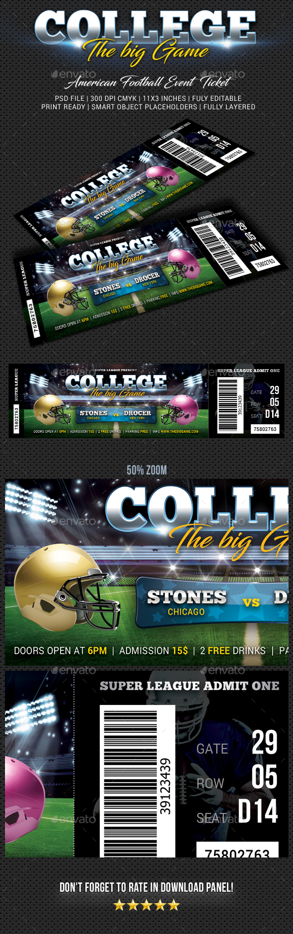 American Football Event Ticket - Cards & Invites Print Templates
