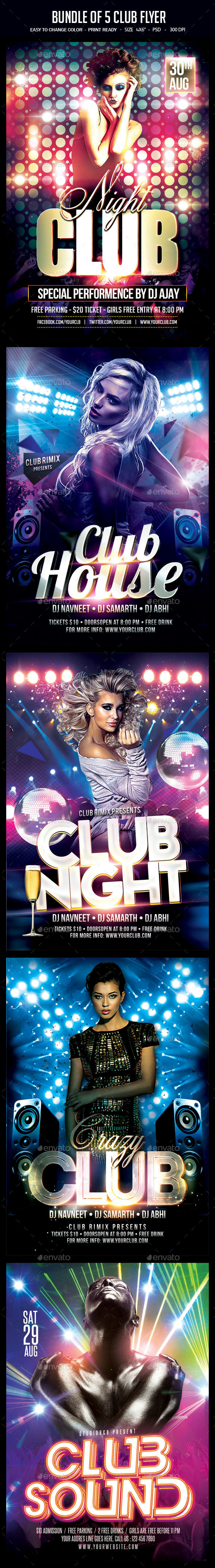 Bundle of 5 Club Flyer - Clubs & Parties Events