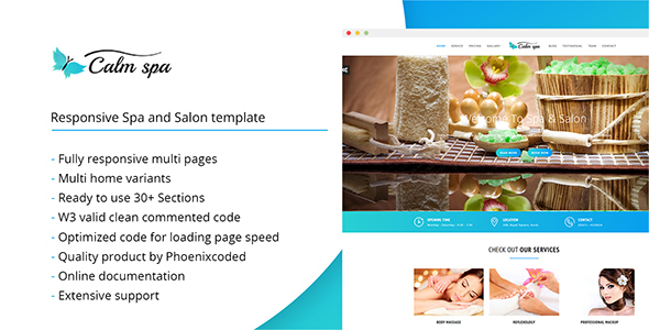 Calm spa - HTML Responsive Template for Spa and Salon - Health & Beauty Retail