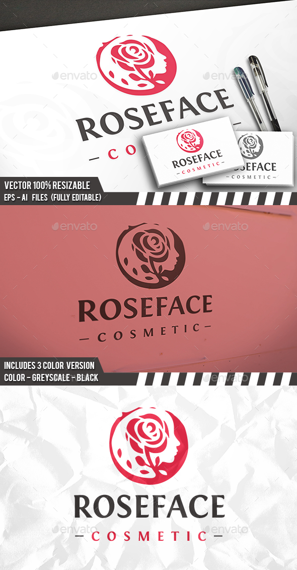 Rose Face Logo - Humans Logo Templates