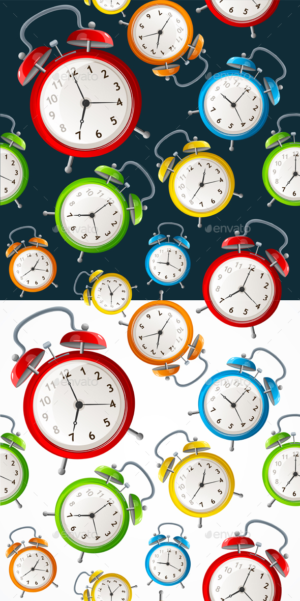 Alarm Clock Pattern Background. Vector - Patterns Decorative