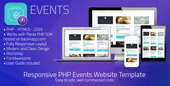 Events | PHP Event Sharing Web Template (Parse PHP) - CodeCanyon Item for Sale