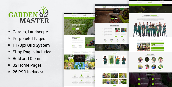 Garden Master – Gardening and Landscaping PSD Template