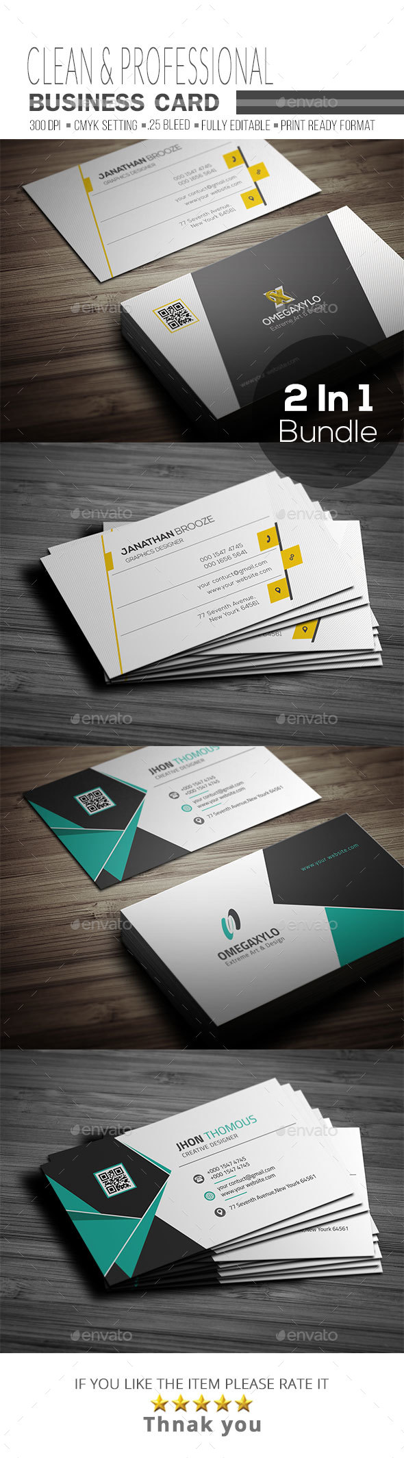 Business Card Bundle 2 In 1 - Corporate Business Cards