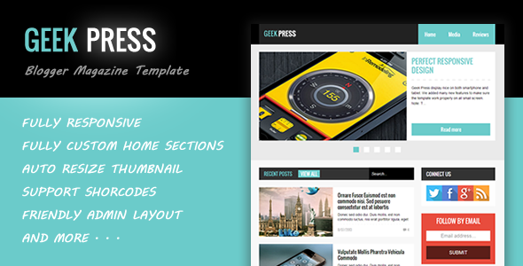 Geek Press - Responsive News & Magazine Blogger Template - Blogger Blogging