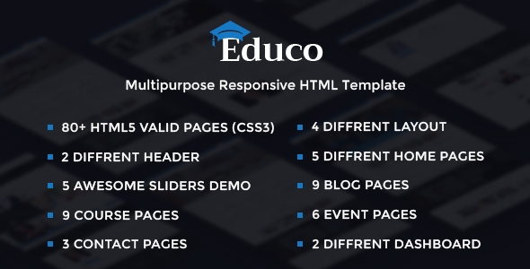 Educo - Elearning, Education Bootstrap Html Template - Corporate Site Templates