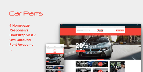 Carparts – Responsive eCommerce Template