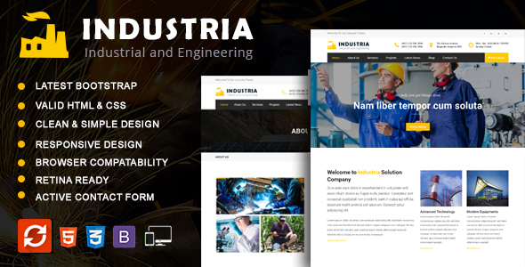 INDUSTRIA –  Industrial Business   HTML5 Template