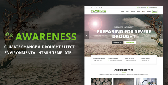 Awareness – Climate Change & Drought Effect Environmental HTML5 Template