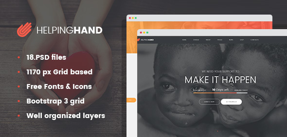 HelpingHand – Charity/Non-Profit PSD Template