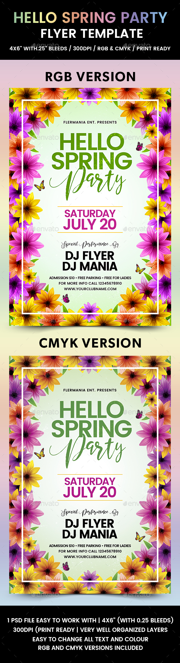 Hello Spring Party Flyer Template - Events Flyers