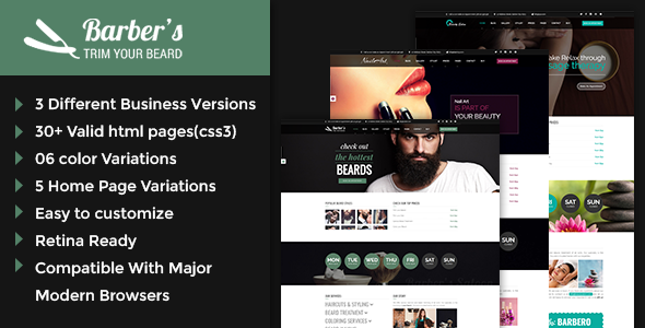 Barber - Html Template for Barbers and Hair Salon - Health & Beauty Retail
