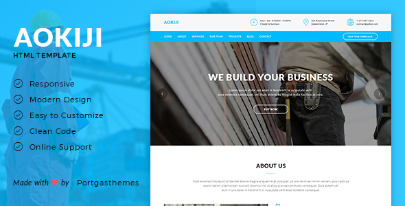 Aokiji – Construction & Business HTML Template