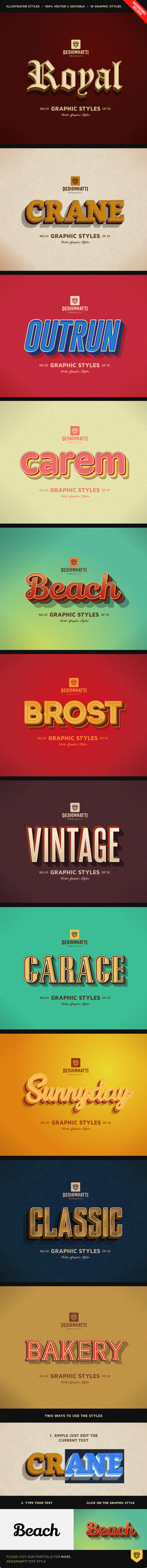 Retro Vintage Text Styles Vol.03 - Styles Illustrator