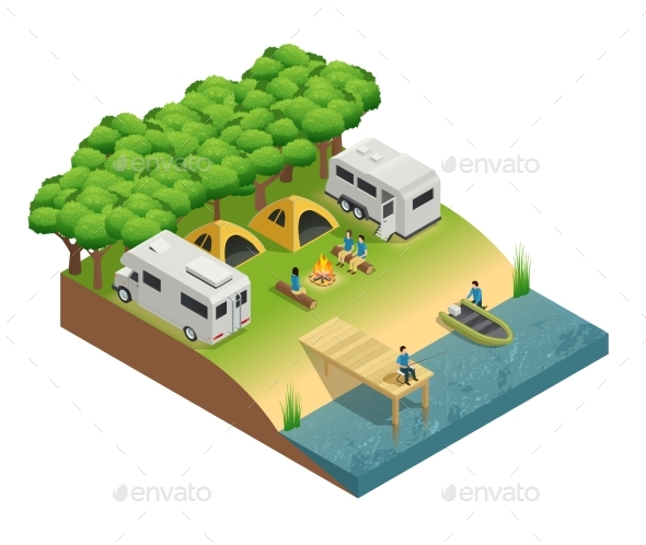 Recreational Vehicles at Lake Isometric - Miscellaneous Vectors