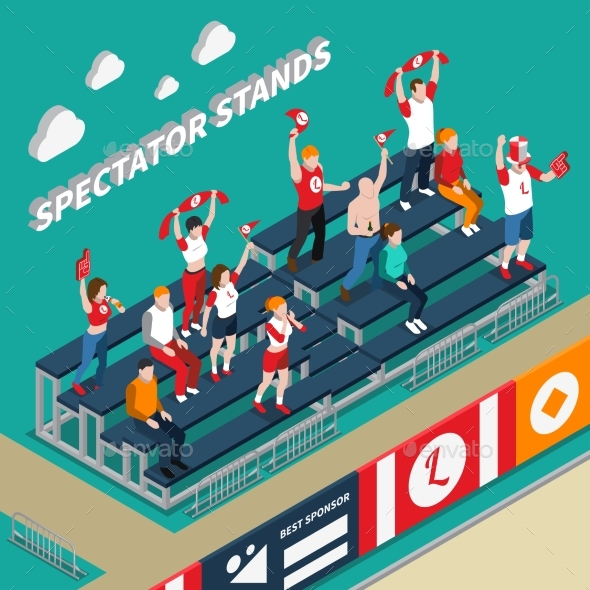 Spectator Stands with Fans Isometric Illustration - Sports/Activity Conceptual